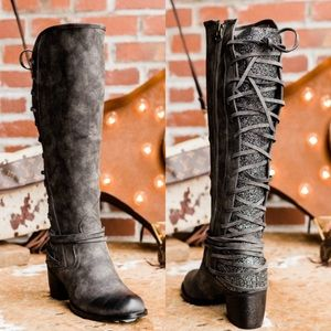 Southern Fried Chics Glitter Lace Up Boots Gray